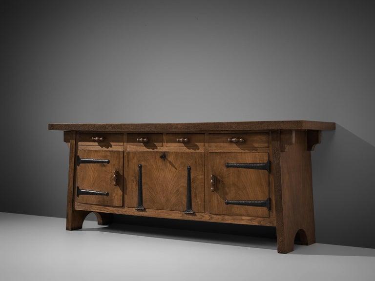 Italian Large Sideboard by Ernesto Valabrega in Oak For Sale
