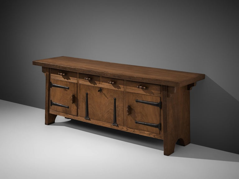 Mid-20th Century Large Sideboard by Ernesto Valabrega in Oak For Sale