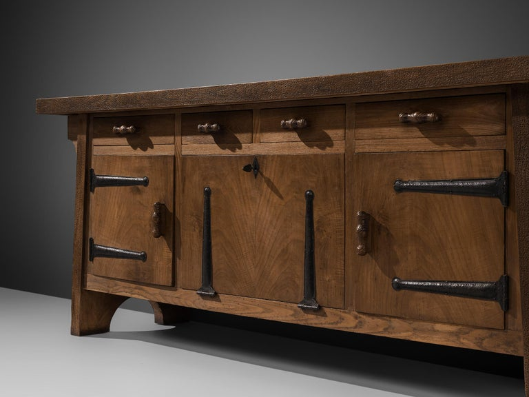 Iron Large Sideboard by Ernesto Valabrega in Oak For Sale