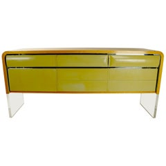 Large Sideboard Credenza with Oak Frame Lacquered Drawers and Lucite Base