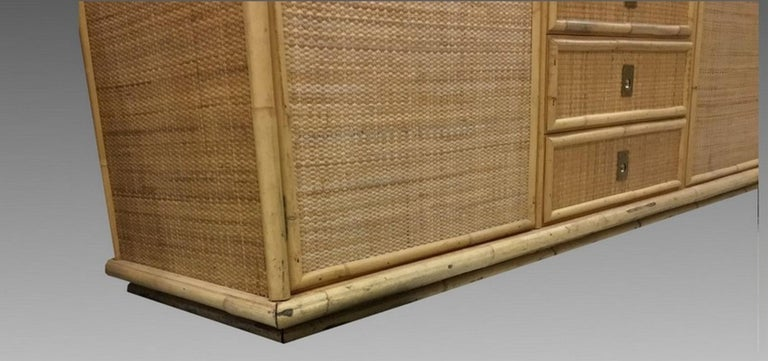 Italian Large Sideboard in Bamboo and Caning, Italy, 1970 For Sale