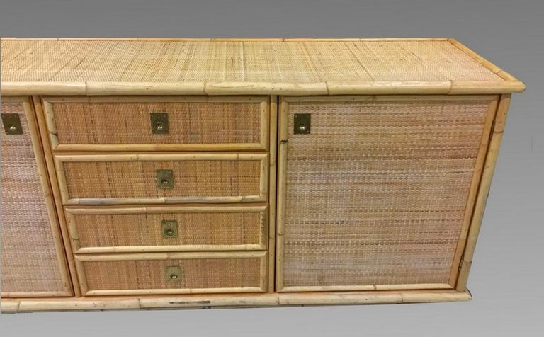 Large Sideboard in Bamboo and Caning, Italy, 1970 In Good Condition For Sale In Paris, FR