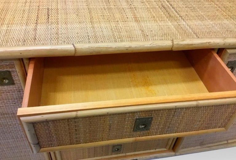 Late 20th Century Large Sideboard in Bamboo and Caning, Italy, 1970 For Sale