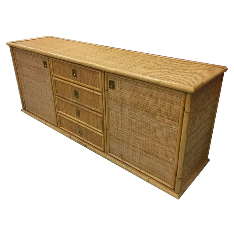 Large Sideboard in Bamboo and Caning, Italy, 1970 For Sale