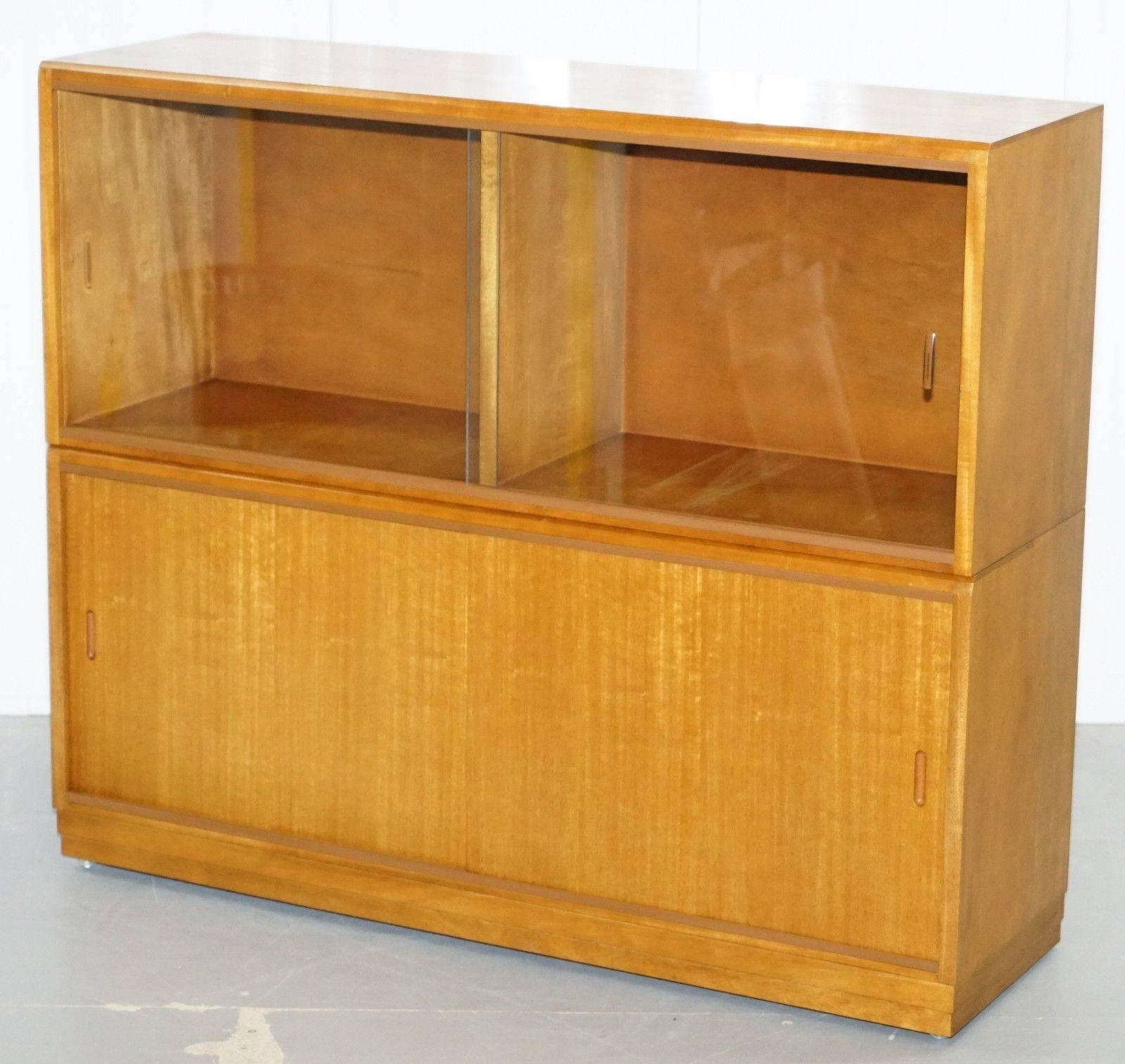 Large Sideboard Sized 1960s Simplex Honey Oak Stacking Bookcase Glass Doors
