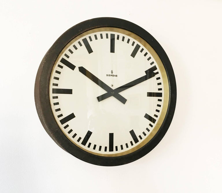 Large Siemens Factory Industrial Or Station Wall Clock For Sale At