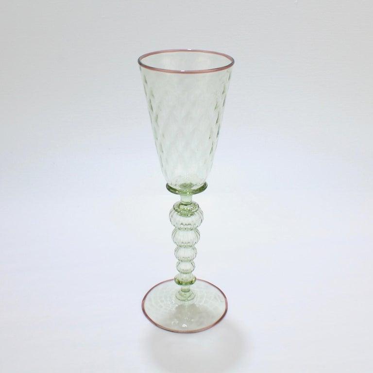 Renaissance Large Signed Alan Goldfarb American Art Glass Venetian Style Glass Goblet For Sale