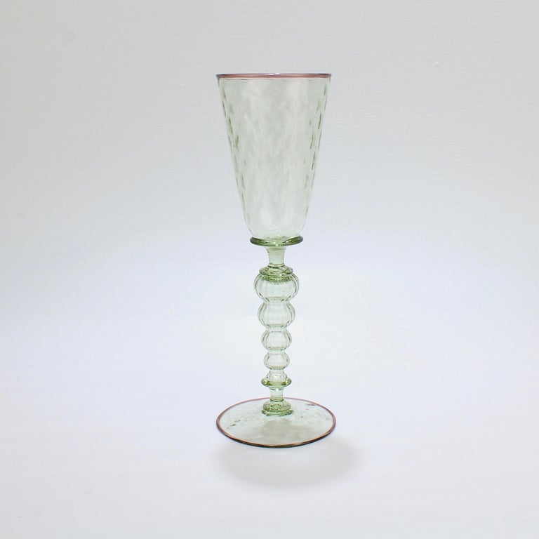Large Signed Alan Goldfarb American Art Glass Venetian Style Glass Goblet In Good Condition For Sale In Philadelphia, PA
