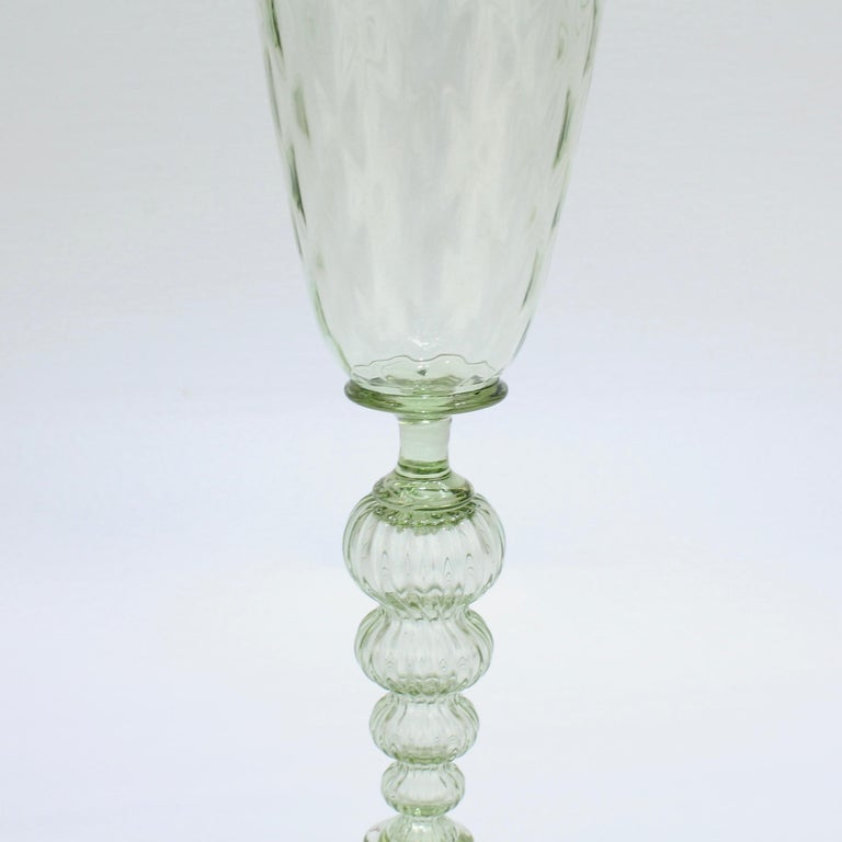 20th Century Large Signed Alan Goldfarb American Art Glass Venetian Style Glass Goblet For Sale