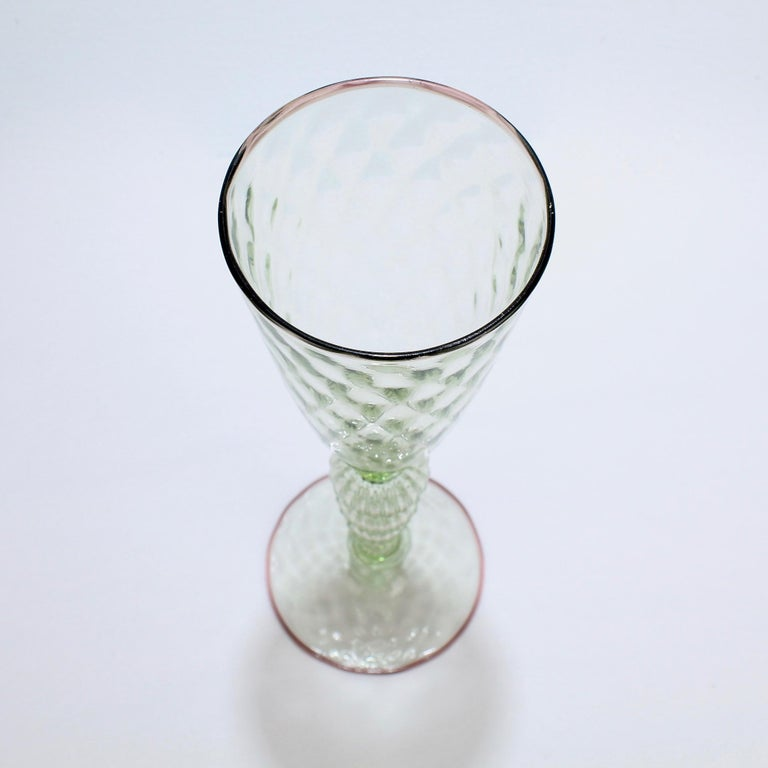 Large Signed Alan Goldfarb American Art Glass Venetian Style Glass Goblet For Sale 1