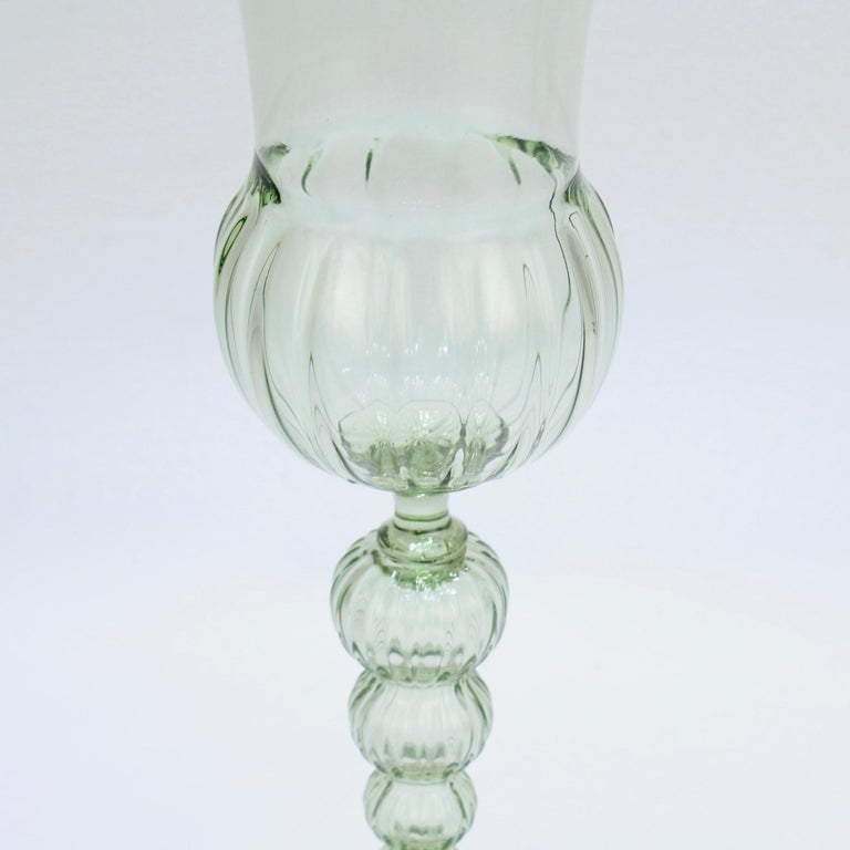Large Signed Alan Goldfarb American Art Glass Venetian Style Glass Goblet For Sale 2