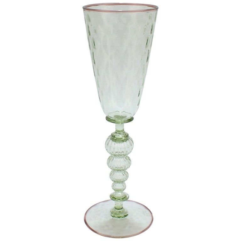 Large Signed Alan Goldfarb American Art Glass Venetian Style Glass Goblet For Sale