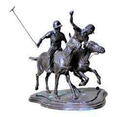 """Large Signed Antique Bronze Polo Players Sculpture Titled """"The Ride Off"""""""