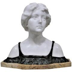 Large Signed Art Nouveau Carved Alabaster and Bronze Female Sculpture or Bust