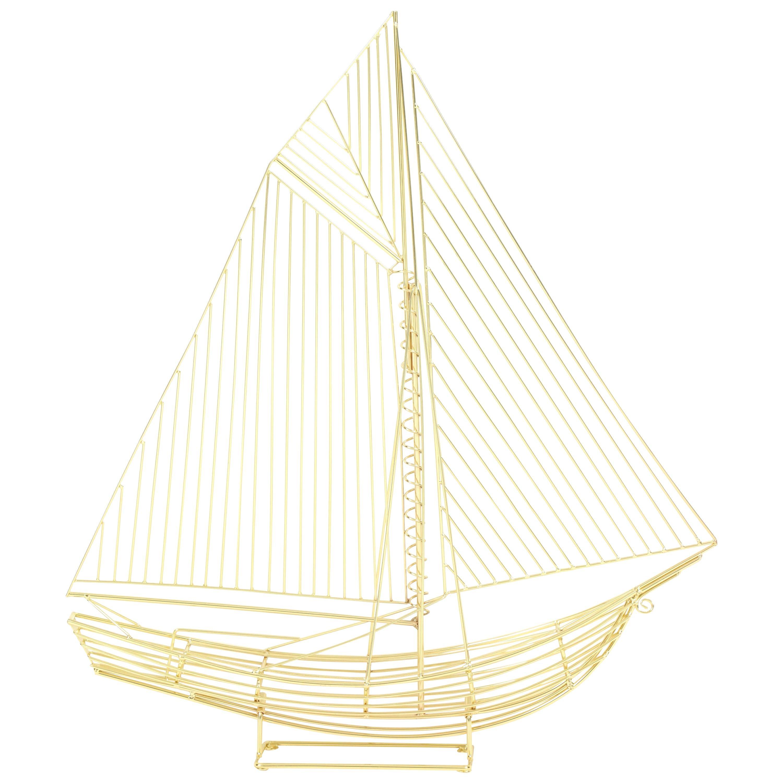 Large Signed Curtis Jere Polished Brass Sail Boat Sculpture, 1970