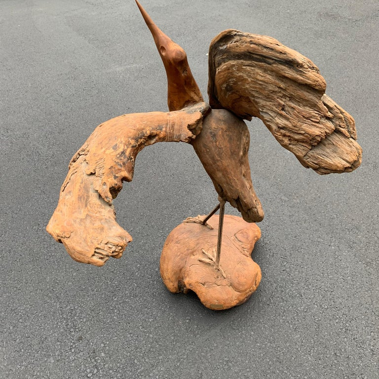 Large Signed Driftwood Crane Sculpture on a Wooden Base, 1975 For Sale 2