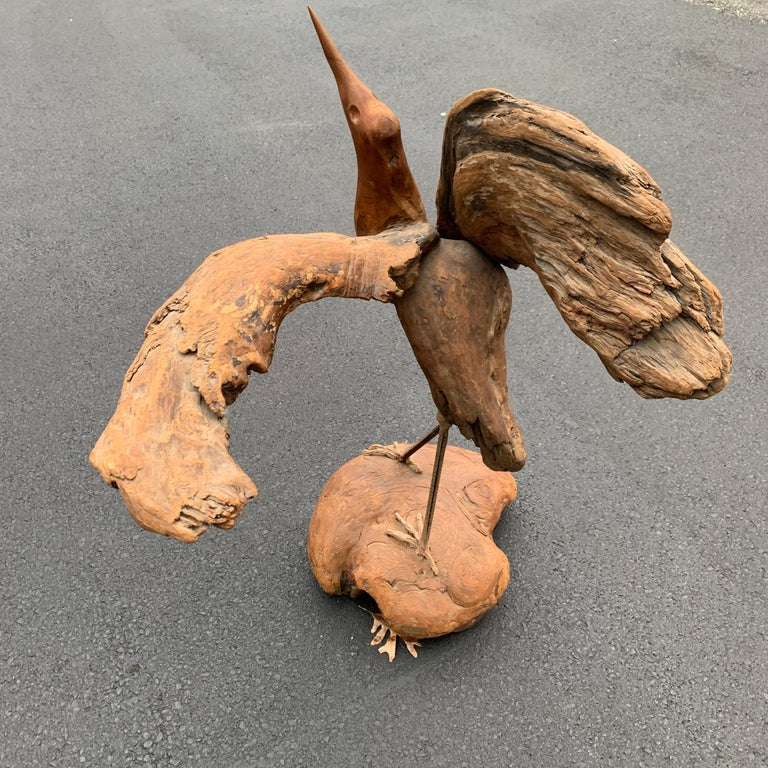 Large Signed Driftwood Crane Sculpture on a Wooden Base, 1975 For Sale 7
