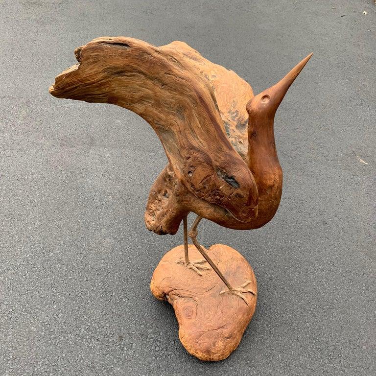 Large Signed Driftwood Crane Sculpture on a Wooden Base, 1975 For Sale 8
