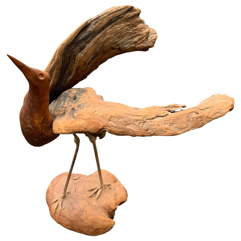 Organic Modern Large Signed Driftwood Crane Sculpture on a Wooden Base, 1975 For Sale