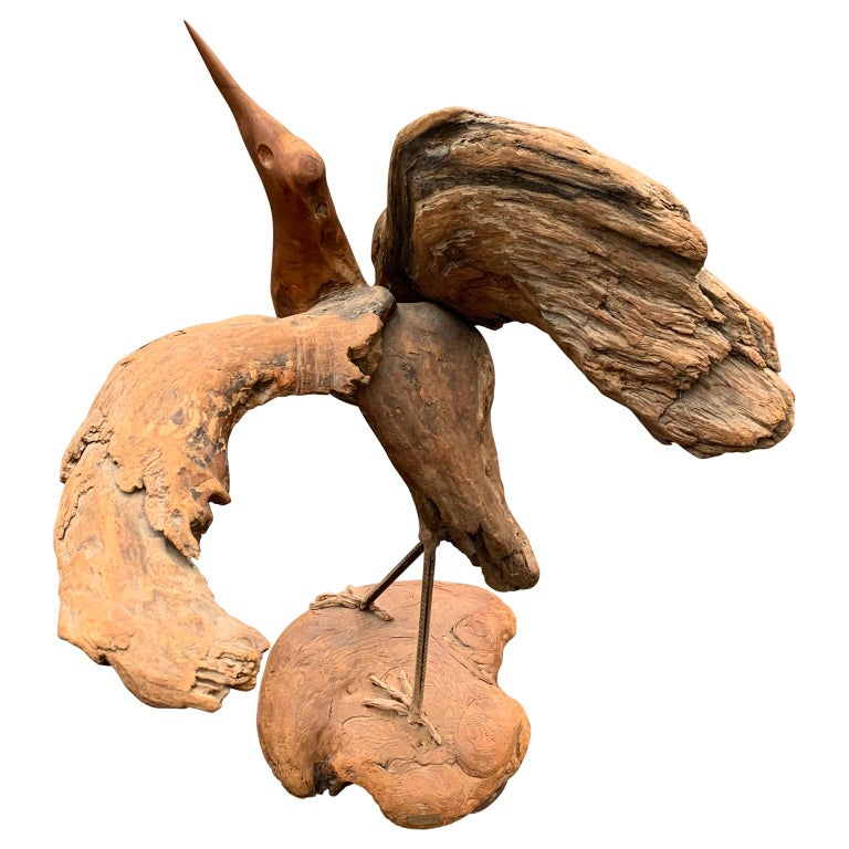 American Large Signed Driftwood Crane Sculpture on a Wooden Base, 1975 For Sale