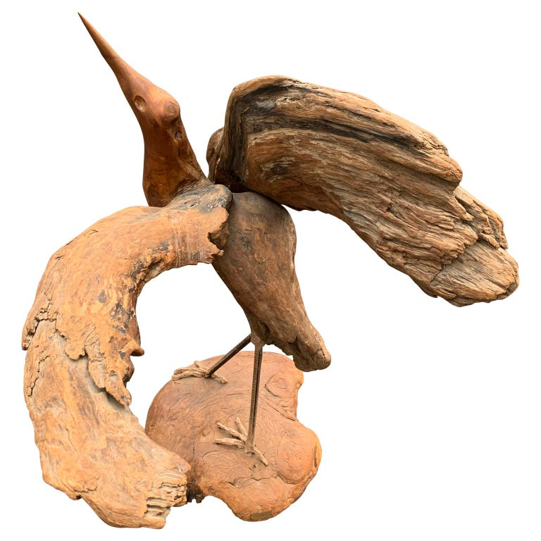 Hand-Crafted Large Signed Driftwood Crane Sculpture on a Wooden Base, 1975 For Sale
