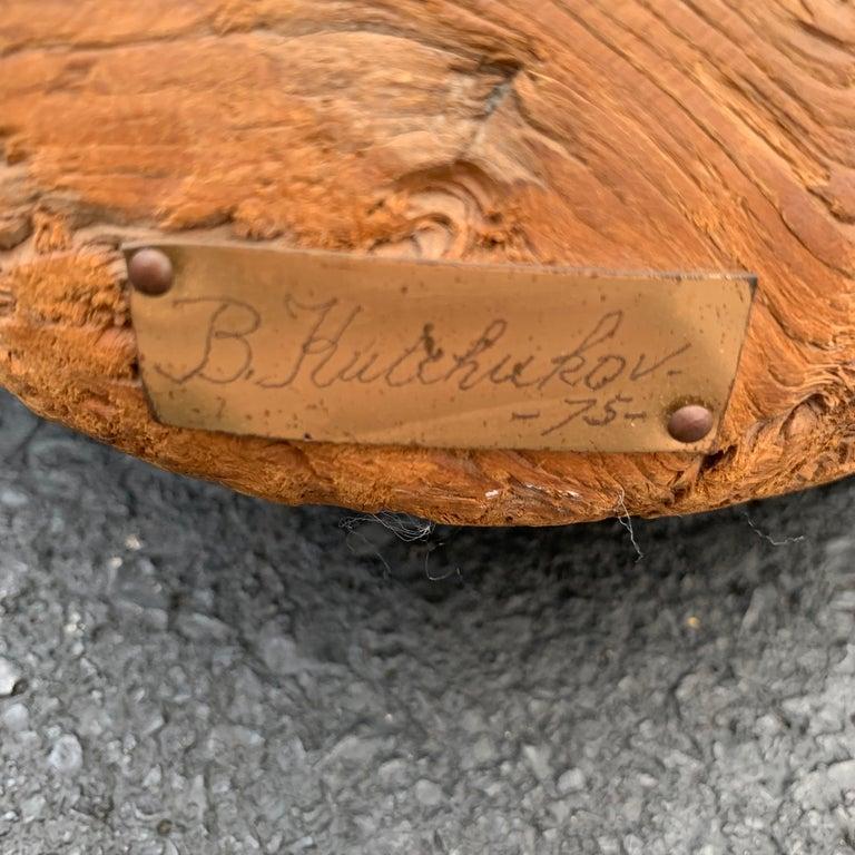 Large Signed Driftwood Crane Sculpture on a Wooden Base, 1975 For Sale 1