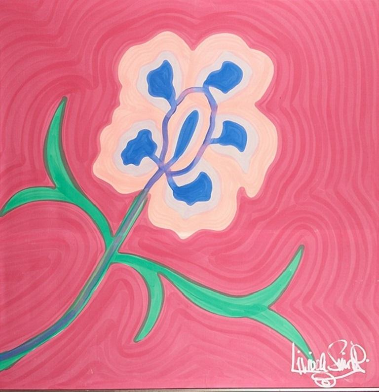 Large, signed, framed Livio de Simone original hand painted flower on cotton fabric. Made in Italy. Nice vibrant and bold colors. Livio de Simone - Designer-artist and creator of extraordinary tailoring elaborations, entered the history of haute