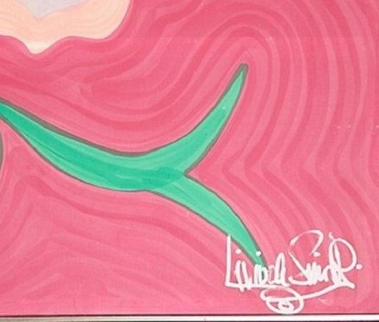 Italian Large, Signed, Framed Livio De Simone Original Hand Painted Flower on Fabric For Sale