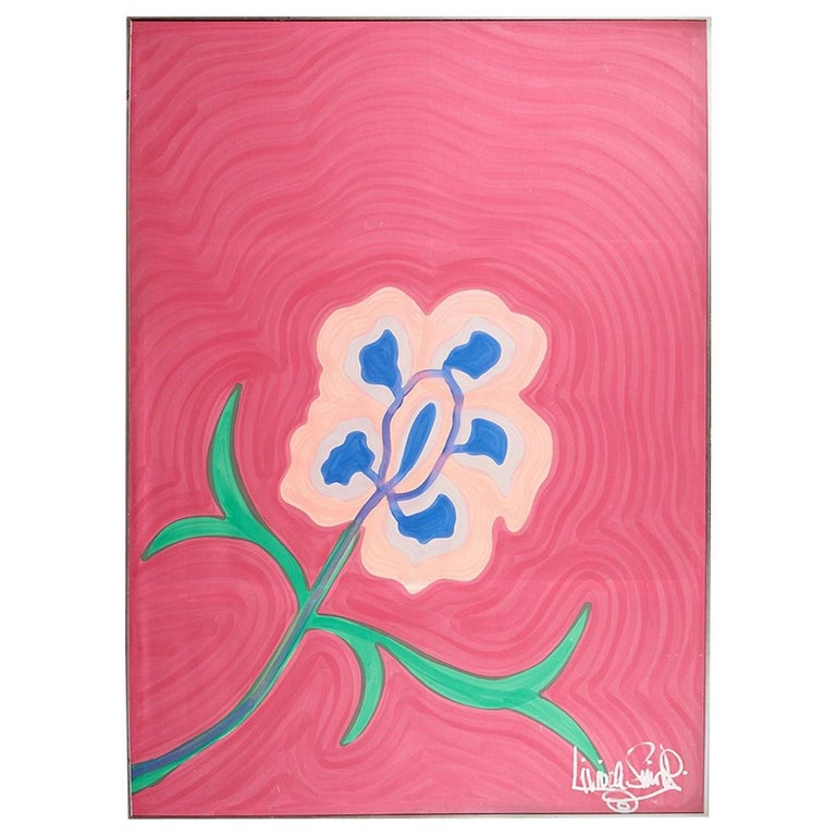 Large, Signed, Framed Livio De Simone Original Hand Painted Flower on Fabric For Sale