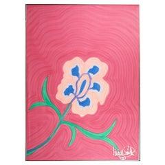 Large, Signed, Framed Livio De Simone Original Hand Painted Flower on Fabric