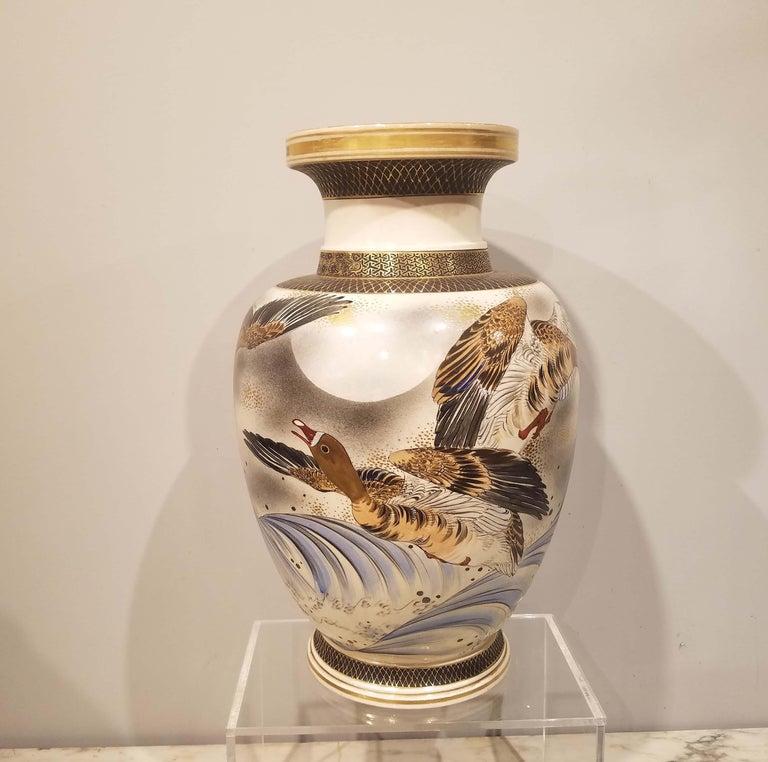 Large signed Satsuma vase Meiji Period (1868-1912). Depicting birds in flight. 15.75