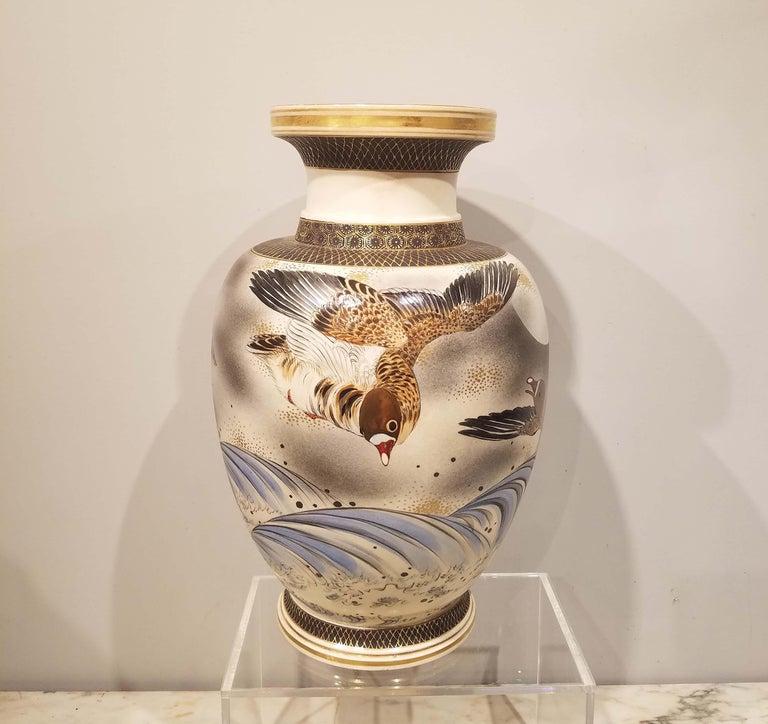 Japonisme Large Signed Japanese Satsuma Porcelain Vase Meiji Period For Sale