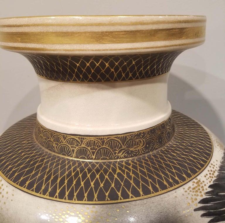 19th Century Large Signed Japanese Satsuma Porcelain Vase Meiji Period For Sale