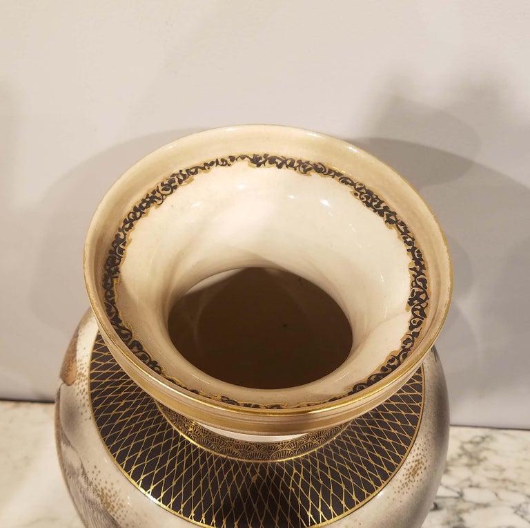 Large Signed Japanese Satsuma Porcelain Vase Meiji Period For Sale 1