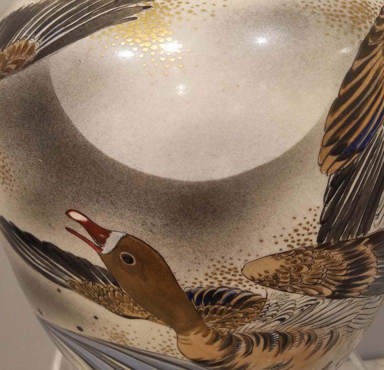 Large Signed Japanese Satsuma Porcelain Vase Meiji Period For Sale 3