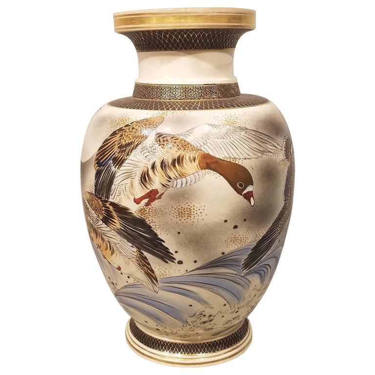 Large Signed Japanese Satsuma Porcelain Vase Meiji Period For Sale