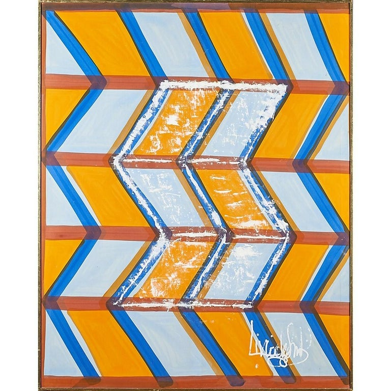 Large, Signed Livio de Simone original hand painted geometric shaped pattern on cotton fabric. Made in Italy. Livio de Simone, designer-artist and creator of extraordinary tailoring elaborations, entered the history of haute couture next to Emilio