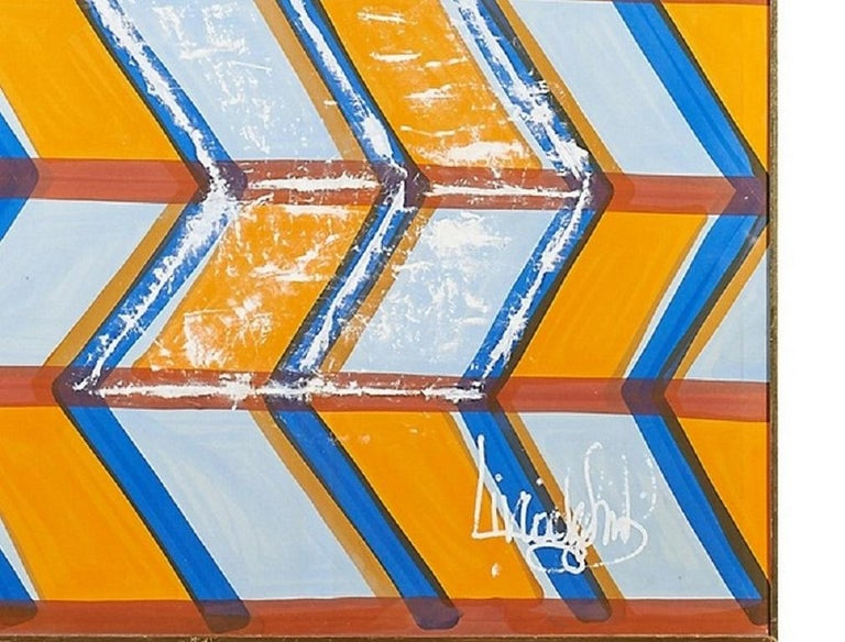 Modern Large, Signed Livio de Simone Original Hand Painted Geometric Fabric Framed For Sale