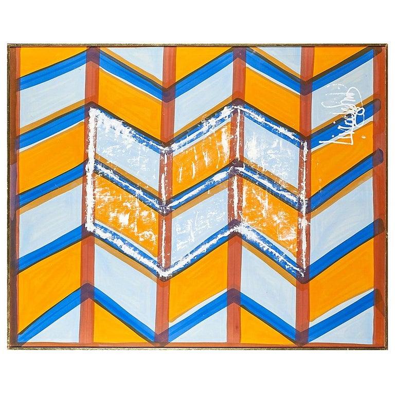 Large, Signed Livio de Simone Original Hand Painted Geometric Fabric Framed For Sale
