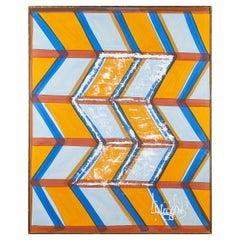 Large, Signed Livio de Simone Original Hand Painted Geometric Fabric Framed