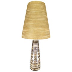 Large Signed Lotte & Gunnar Bostlund Table Lamp, Tribal Pattern, 1960s