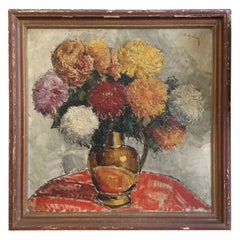 Large Signed Oil on Canvas Flowers in a Vase