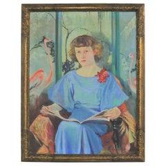 Large Signed Oil Portrait Titled Betsy by Barbara Hunter Watt, 1936