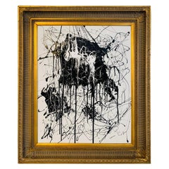 Large Signed Original Abstract Black & White Expressionist Painting