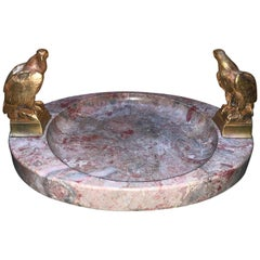 Large Signed Oval Marble Ashtray or Centerpiece with Two-Bronze Eagles