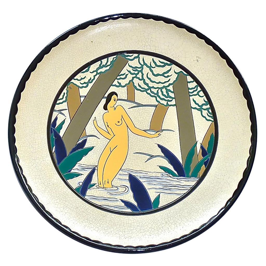 Large Signed Samara Art Deco Ceramic Wall Plate Bathing Nude, France, 1920s 30s