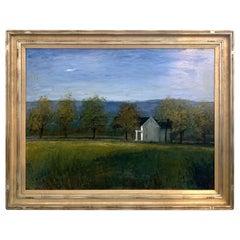 "Large Signed Seth Winegar Original Oil Landscape Painting Titled ""Farm House"""