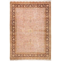 Large Silk and Wool Vintage Tabriz Persian Rug. Size: 11 ft 2 in x 15 ft 9 in