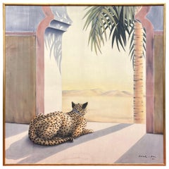 Large Silk Painting with Cheetah