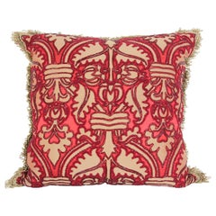 Large Silk Pillow with Metallic Red Beads